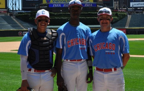 Jordan Jackson '15 (middle) posing for a picture after the CPS All Star Game.