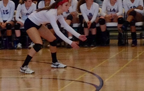 Brittany Lieber playing in a Jones' volleyball game.  Photo provided by Lieber.