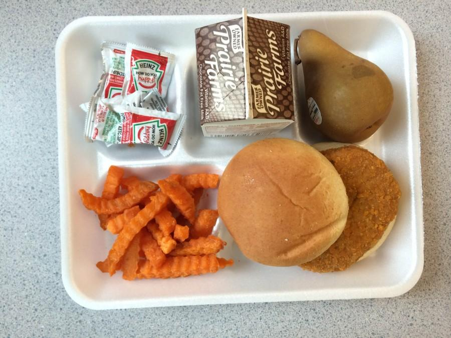 The infamous spicy chicken patty is the meat of this school lunch.