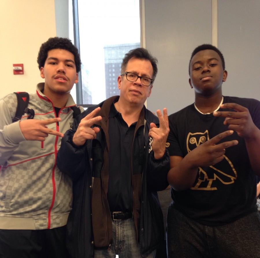 Gonzalez with two of the students he mentors, Jesse Gomez '16 & Malakye Hall '16