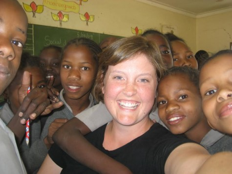 Ms. Waldock with her students in Namibia, South Africa.