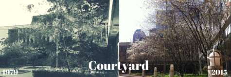 The courtyard in '79 was more like a garden than what students know today.