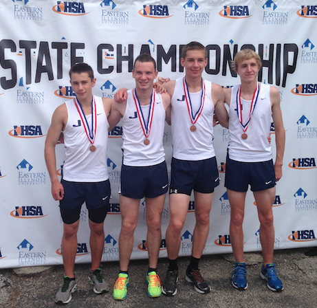 The four runners with their medals.