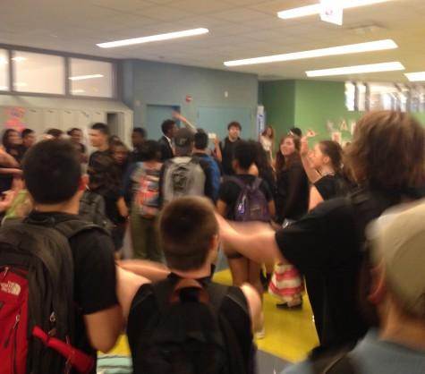Juniors dancing on the 4th floor