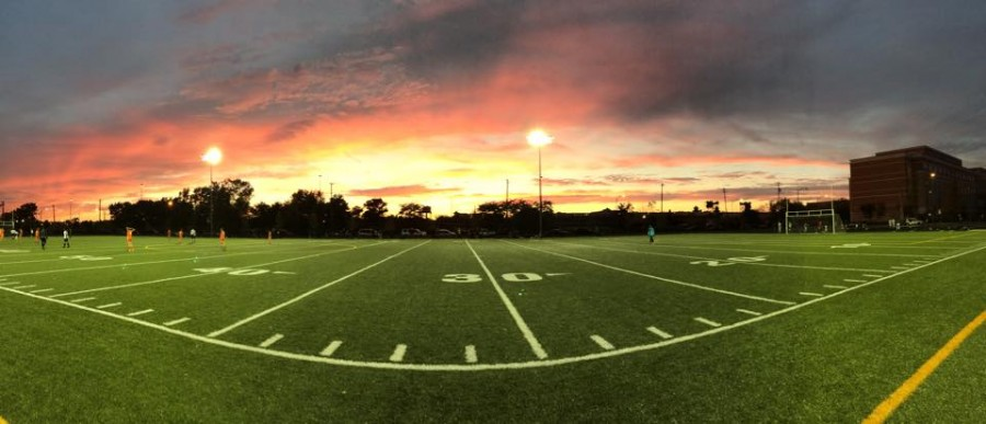 The sun sets at the new Jones field as the JV soccer team takes a 2-1 win against Whitney Young.