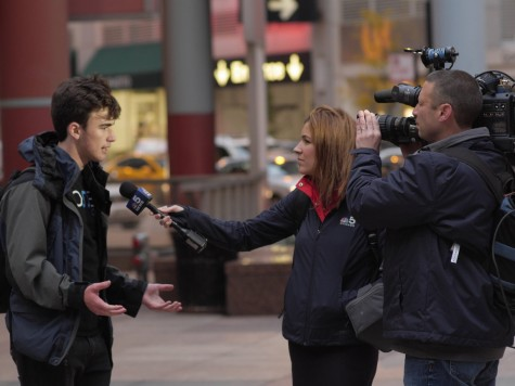 Dominic Zurillo '17 interviewed by NBC 5 Chicago, one of many broadcasts to go to the protest live.