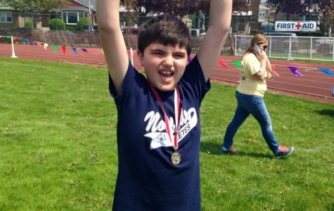 Levens' brother, Lucas (13), pictured winning gold at the Special Olympics in May.