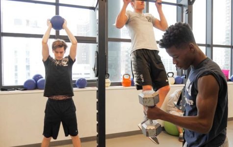 Nate Russell '17 and other members of the group lift weights as part of their creatine-induced regimen.