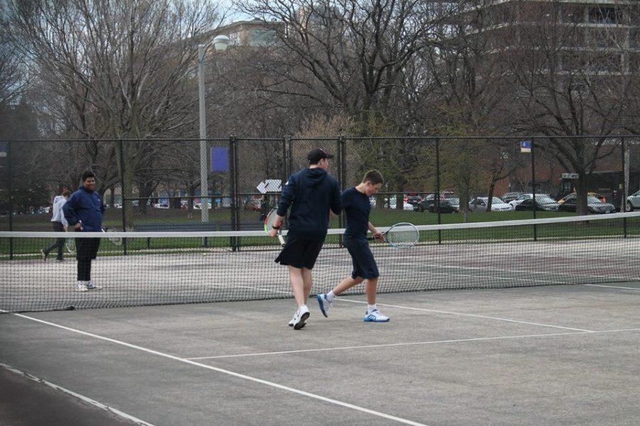 Ben Keeler '18 and Felix Hecht '17 celebrate a victory, preparing for their upcoming April 20 victory.