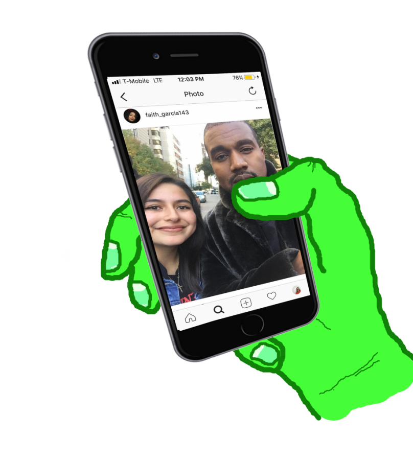 Faith Garcia '18's post with Kanye West racked up thousands of likes on social media platforms such as Instagram and Twitter.