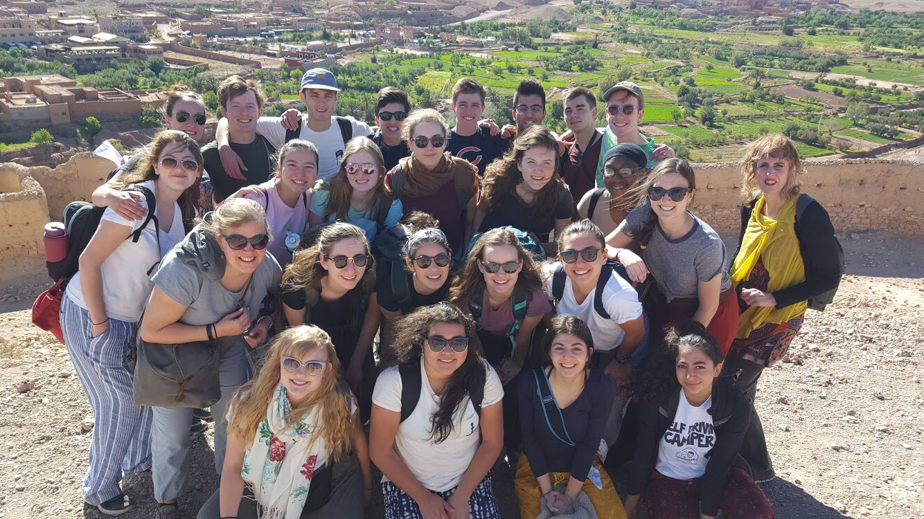 French students pose for a group photo in Morocco.