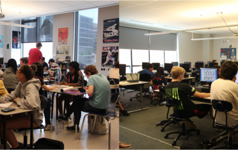 Freshman Ac Lab A2116 (right) spend their Eagle Lab writing letters to their future selves while senior Ac Lab A1807 (left) showed low turnout and were given a free period.
