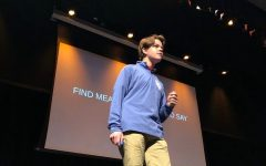 Ben Adamson '20 practices his TEDX speech in 2019. Photo Courtesy of Cassidy Goldman '21
