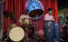 Andy Carlos-Tamez '21 (right) plays the conga drums in a Ravinia Jazz Showcase last year.  Photo courtesy of Andy Carlos-Tamez '21